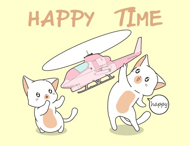 2 gatos kawaii estão jogando brinquedo de helicóptero.