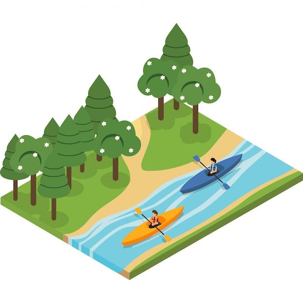 2 homens estão andando de caiaque no riacho juntos