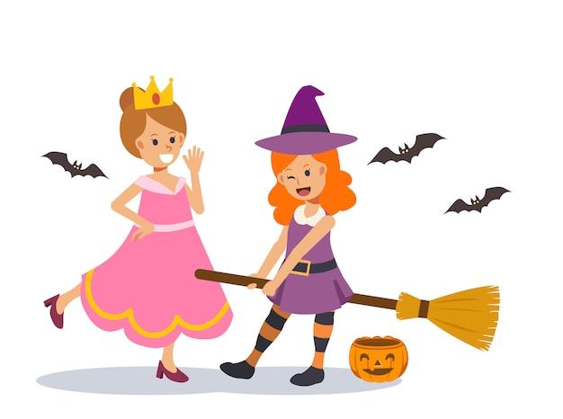 2 lindas garotas com fantasia de bruxa / princesa mágica estão jogando umas com as outras no feriado de halloween. ilustração de personagem plana.