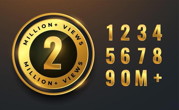 2 milhões ou 2 milhões de visualizações de rótulos dourados para vídeos