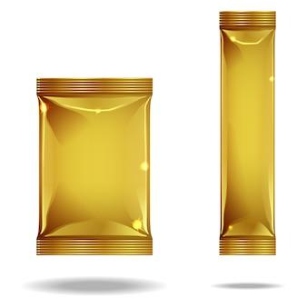 2 pacotes dourados diferentes.