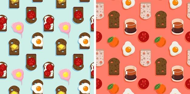 2 padrão sem emenda de pão, propagação, ovos cozidos e frutas