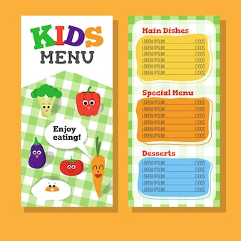 2 páginas design de menu para crianças com vegetais para restaurante