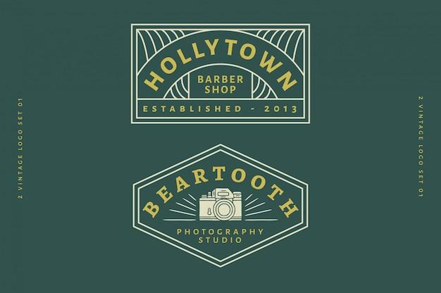 2 vintage logo set vol 03 - logotipo de barbearia - logotipo do estúdio de fotografia texto, cor e contorno totalmente editáveis