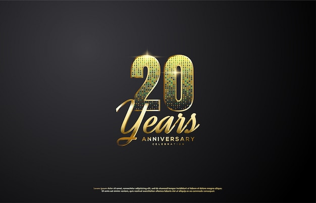 20º aniversário com elegantes dígitos de ouro.