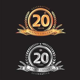 20º aniversário comemorando o design de logotipo de vetor clássico