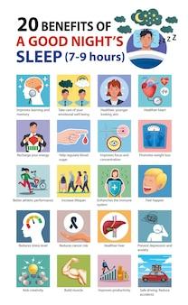 20 benefícios para a saúde de uma boa noite de sono infográfico ilustração vetorial