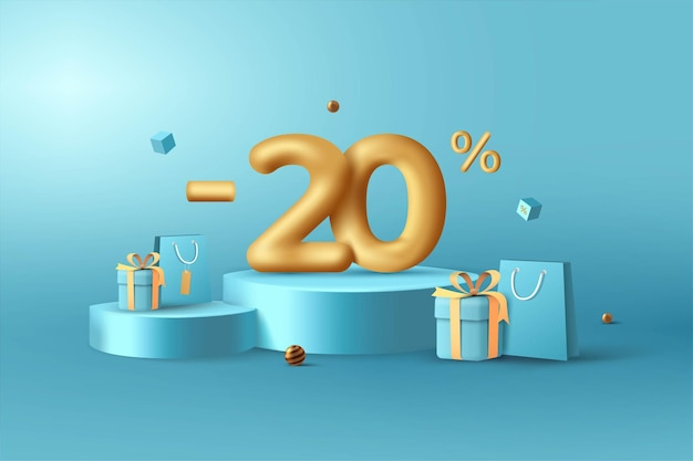 20% de desconto em números de desconto em ouro 3d no pódio