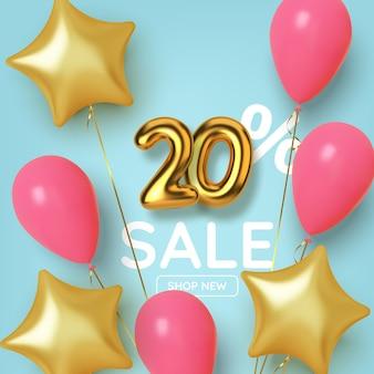 20 de desconto na venda da promoção feita de números de ouro 3d realistas com balões e estrelas. número em forma de balões dourados.