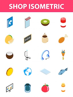 20 loja isométrica conjunto de ícones.