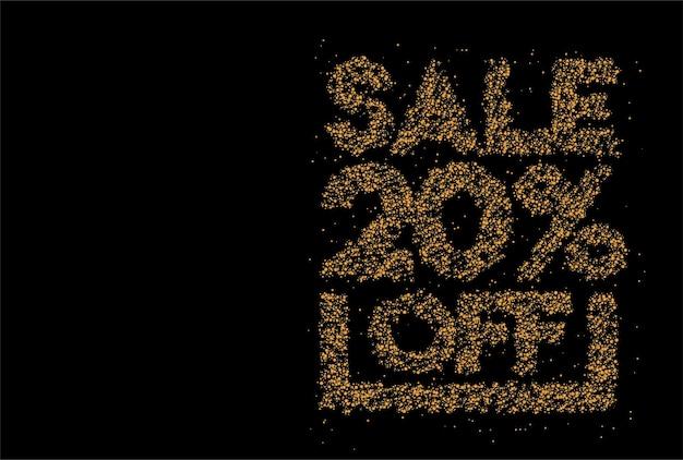 20% off banner design de partículas com desconto de venda. desconto na etiqueta de preço da oferta. ilustração em vetor etiqueta moderna.