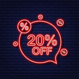 20 por cento de desconto em banner de venda. ícone de néon. desconto na etiqueta de preço da oferta. ilustração vetorial.