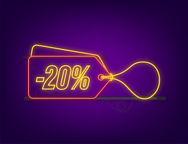 20 por cento fora da etiqueta de néon de desconto de venda. desconto na etiqueta de preço da oferta. 20 por cento de desconto ícone de promoção plana com sombra longa. ilustração vetorial.