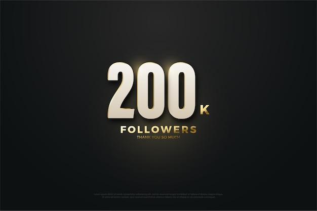 200 mil seguidores com números e efeitos de luz.