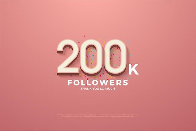 200 mil seguidores com números e rabiscos coloridos.