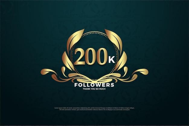 200 mil seguidores com números e símbolos carismáticos. Vetor Premium