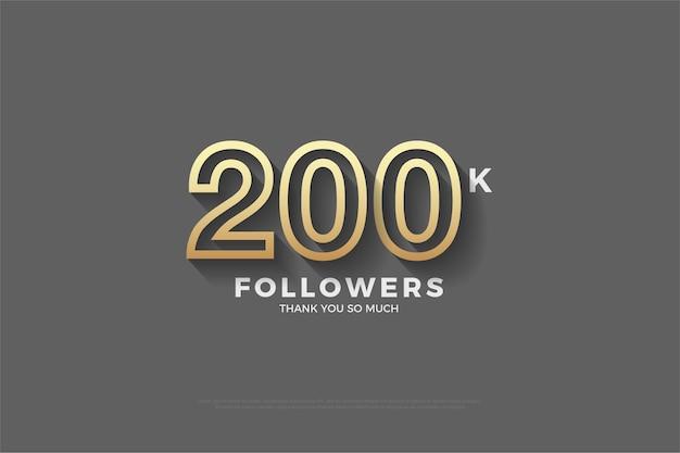 200 mil seguidores com números listrados em marrom.