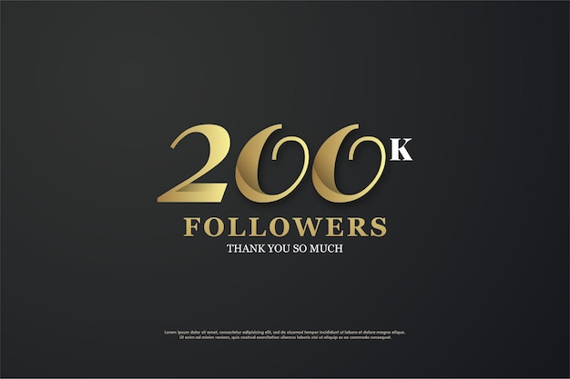 200 mil seguidores com um número único ilustrado.