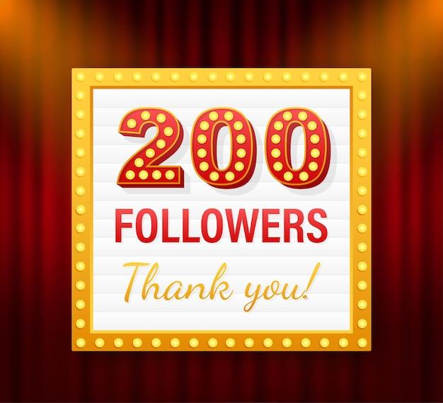 200 seguidores, obrigado, postagens em sites sociais. obrigado cartão de felicitações de seguidores. ilustração em vetor das ações.