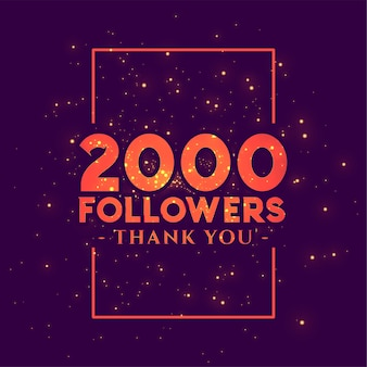 2000 seguidores bandeira de felicitações para redes sociais