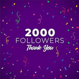 2000 seguidores rede de mídia social
