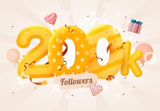 200k ou 200.000 seguidores obrigado coração rosa, confete dourado e letreiros de néon.