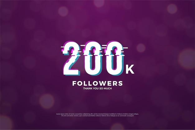 200k seguidores com corte em números de design de paz.