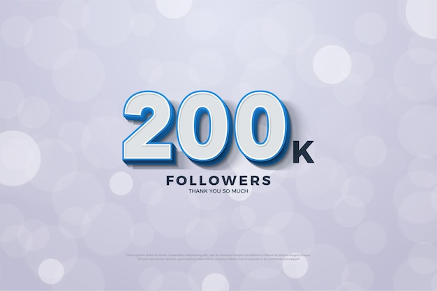 200k seguidores com figuras 3d com borda azul.