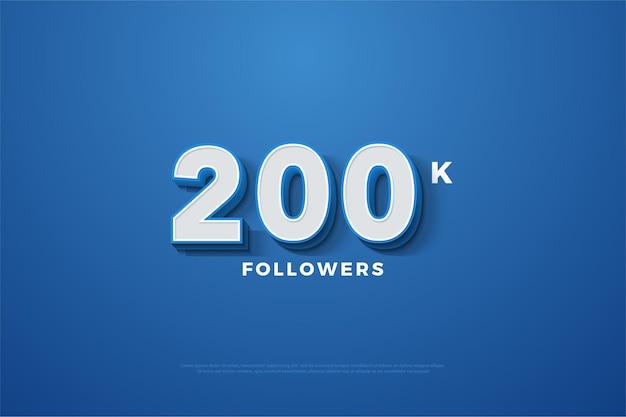 200k seguidores com ilustração numérica 3d em relevo.