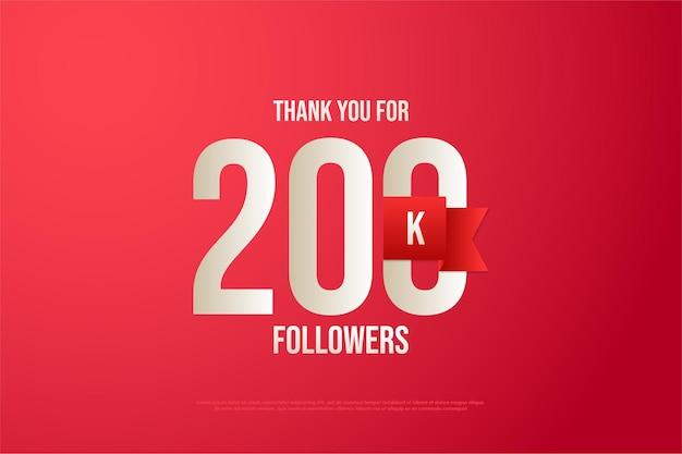 200k seguidores com números e fita vermelha.