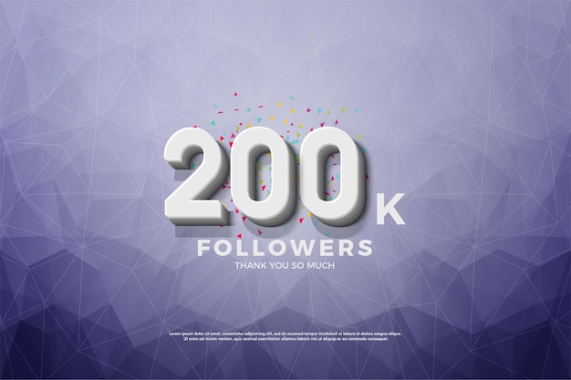 200k seguidores com um fundo de papel de cristal.