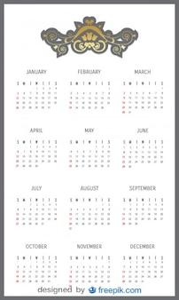 2014 calendário com cabeçalho decorativo