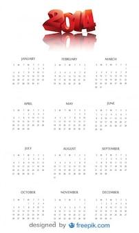 2014 calendário com cabeçalho sorte vermelho