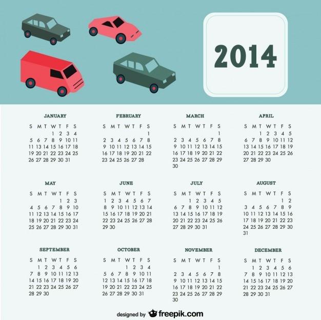 2014 carros de design calendário