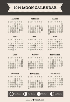 2014 fases da lua calendário design minimalista