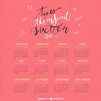 2016 agradável calendário