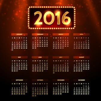 2016 brilhante calendário