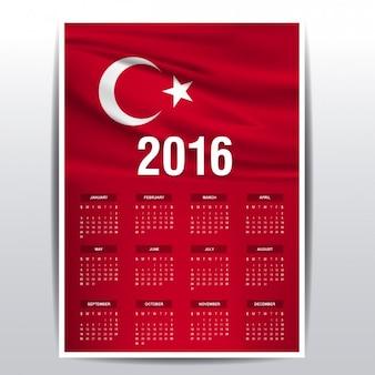 2016 calendário de bandeira da turquia