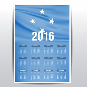 2016 calendário de bandeira micronésia