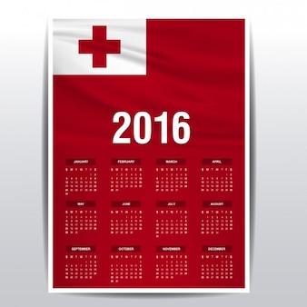 2016 calendário de bandeira tonga