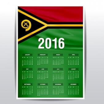 2016 calendário de bandeira vanuatu