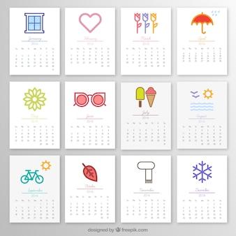 2016 calendário mensal com ícones