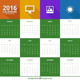 2016 calendário no estilo ícones