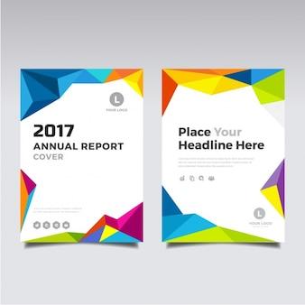 2017 brochura full color com formas poligonais Vetor grátis