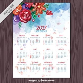 2017 calendário com flores da aguarela