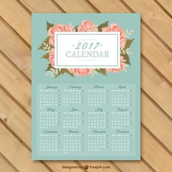 2017 calendário com flores decorativas