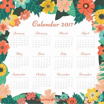 2017 calendário com flores do vintage