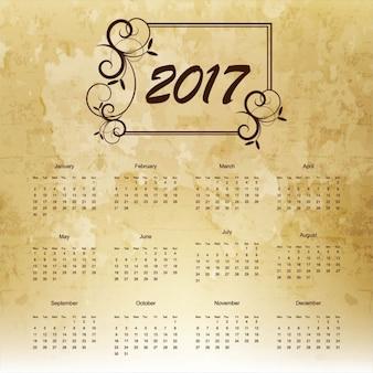 2017 calendário com quadro floral