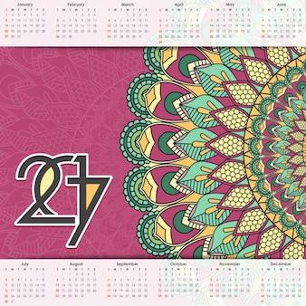2017 calendário com uma mandala