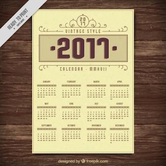 2017 calendário do estilo do vintage
